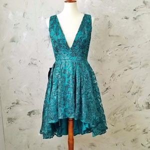 BEBE Sequined Turquoise Cocktail Evening Dress